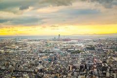 Osaka cityscape at sunset, Kansai, Japan Stock Photo