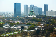 Osaka cityscape with traditional castle Royalty Free Stock Photo