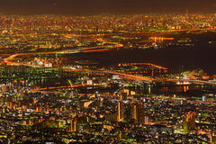 Osaka en Kobe bij nacht, Mening van Kukuseidai van MT maya royalty-vrije stock afbeeldingen