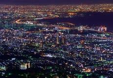 Osaka en Kobe in de schemering, Mening van Kukuseidai van MT maya stock foto's
