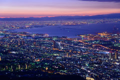 Osaka en Kobe in de schemering, Mening van Kukuseidai van MT maya royalty-vrije stock foto