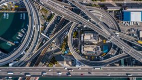 Osaka Expressway top view, Top view over the highway, expressway royalty free stock photography