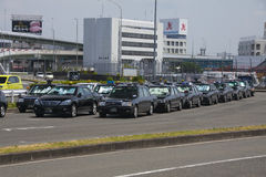 Osaka, Giappone - 10 agosto 2015: Taxi di Osaka vicino ad Osaka Internati Fotografia Stock