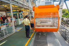 OSAKA, GIAPPONE - 18 LUGLIO 2017: Chiuda su di Tempozan Ferris Wheel a Osaka, Giappone La ruota ha un'altezza di 112 5 metri Immagine Stock
