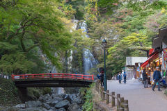 OSAKA, GIAPPONE - 5 novembre: Mino cade Meiji-nessun-mori parco Quasi nazionale di Mino (cascata) di Mino Minoo Park Stream Fotografie Stock Libere da Diritti