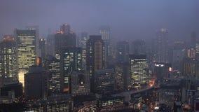 Osaka horisont på skymning, Osaka, stock video