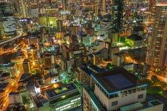 Osaka horisontnightscape Royaltyfri Bild