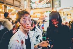 OSAKA, JAPÃO - 31 DE OUTUBRO DE 2015: Rua da compra de Dotonbori em Osa Fotografia de Stock