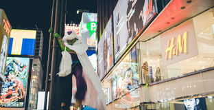 OSAKA, JAPÓN - 31 DE OCTUBRE DE 2015: Calle de las compras de Dotonbori en Osa Fotografía de archivo
