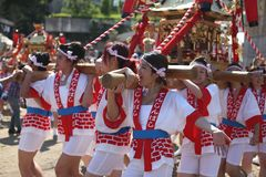 Osaka, Japón - festival de Tenjin Matsuri fotografía de archivo