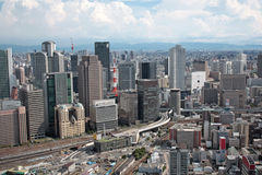 Osaka, Japan. Spectacular aerial view of the Osaka city skyline in Japan Stock Photo