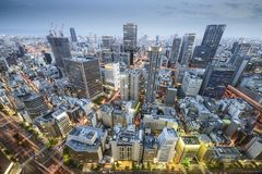 Osaka, Japan. Aerial cityscape in the Umeda District royalty free stock image