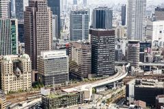 General view of populous Japanese megalopolis Oska. OSAKA, JAPAN - April 30, 2018: General view of populous Japanese megalopolis royalty free stock image
