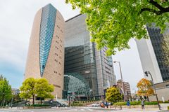 NHK Japan Broadcasting Corporation and Osaka Museum of History building in Osaka, Japan royalty free stock images