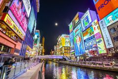 Osaka, Japan at Dotonbori Canal Royalty Free Stock Photography