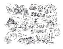 Osaka Japan drawing illustration of landmark and items Stock Photos