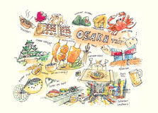 Osaka Japan drawing illustration landmark and must do items Stock Photos