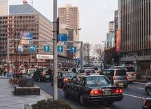 OSAKA, JAPAN - FEB 1,2014 : Osaka City Traffic and Transportation Urban Scene around Osaka Station royalty free stock photo