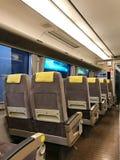 Osaka, Japan - February 12, 2017: Back view of Japan train seat. Osaka, Japan - February 12, 2017:  Row of Japan train seat Royalty Free Stock Image