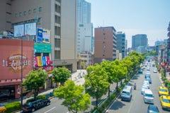 OSAKA JAPAN - JULI 18, 2017: Flyg- sikt av Osaka cityscape i höstsäsong på Osaka, Japan Arkivfoton