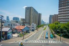 OSAKA JAPAN - JULI 18, 2017: Flyg- sikt av Osaka cityscape i höstsäsong på Osaka, Japan Royaltyfria Foton
