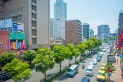 OSAKA JAPAN - JULI 18, 2017: Flyg- sikt av Osaka cityscape i höstsäsong på Osaka, Japan Arkivfoto