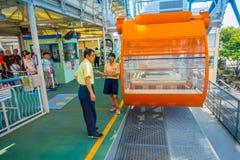 OSAKA, JAPAN - 18. JULI 2017: Schließen Sie oben von Tempozan Ferris Wheel in Osaka, Japan Das Rad hat eine Höhe von 112 5 Meter Lizenzfreies Stockbild