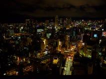 OSAKA, JAPAN - JULY 18, 2017: Areai kview of dowtown of the city of Osaka cityscape in summer season at night in Osaka Stock Photos