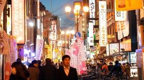 Osaka, Japan- March 2015 -Dotonbori area shopping street and lan Royalty Free Stock Photography