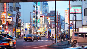 Osaka, Japan- March 2015- Ordinary street view in evening Stock Images