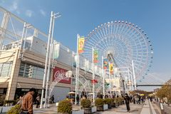 Tempozan Giant Ferris Wheel is located next to Osaka Aquarium Kaiyukan. The wheel has a height of 112.5 meters. stock photography