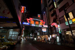 OSAKA, JAPAN - MAY 16  The advertising light displays on May 16, 2014 in Dontonbori, Namba Osaka area, Osaka, Japan  Namba is well Royalty Free Stock Photo
