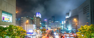 OSAKA, JAPAN - MAY 26, 2016: City skyline at night. Osaka attrac Royalty Free Stock Image