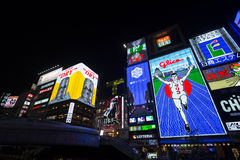 OSAKA, JAPAN - MAY 16  The Glico Man light billboard and other light displays on May 16, 2014 in Dontonbori, Namba Osaka area, Osa Royalty Free Stock Image