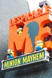 Entrance Sign of Despicable Me Minion Mayhem Stock Image