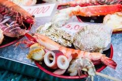 Osaka, Japan - November 19, 2017 :Many fresh seafood at Kuromon stock photos