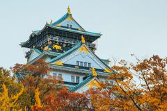 Osaka Castle in autumn season ,one of the most famous landmark in Japan royalty free stock photography