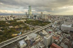 Osaka japan - november6,2018 : panorama view of osaka city skyline from Shinsekai, Tsutenkaku Tower stock photography