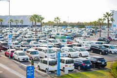Osaka, Japan - November, 14, 2017 :Row of cars in parking lot in. Outdoor, vehicle Royalty Free Stock Images