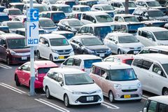 Osaka, Japan - November, 14, 2017 :Row of cars in parking lot in. Outdoor, vehicle Stock Photo