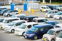 Osaka, Japan - November, 14, 2017 :Row of cars in parking lot in. Outdoor, vehicle Stock Photography
