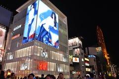 OSAKA, JAPAN - OCT 23: De mensen bezoeken beroemde Dotonbori-straat Stock Afbeelding