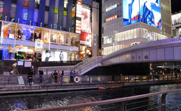 OSAKA, JAPAN - OCT 23: People visit famous Dotonbori street Royalty Free Stock Photo