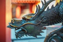 Osaka, Japan - October 24 2014: Sacred bronze dragon sculpture s Royalty Free Stock Photography