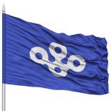 Osaka Japan Prefecture Flag aislado en asta de bandera Imagen de archivo