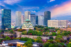 Osaka Japan Skyline. Osaka, Japan cityscape and castle Stock Images