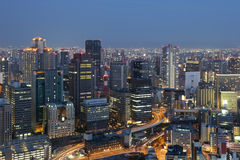 Osaka Japan skyline downtown at night Royalty Free Stock Photography