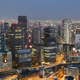 Osaka Japan skyline and traffic Stock Photos