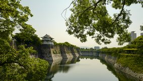 Outer moat of Osaka Castle. The castle is one of Japan`s most famous landmarks. Osaka, Japan, 29th, May, 2017. Outer moat of Osaka Castle. The castle is one of royalty free stock photography