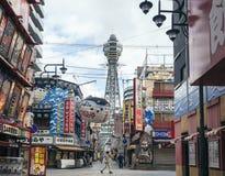 OSAKA JAPONIA, APR, - 18, 2017: Tsutenkaku wierza Shinsekai Osaka atrakcja turystyczna Zdjęcie Stock